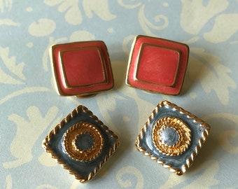 Vintage Enamel Square Gold Tone Clip On Earrings, Robin Egg Blue Enamel Clip Earrings, Salmon Enamel Clip Earrings, Spring  Summer Earrings