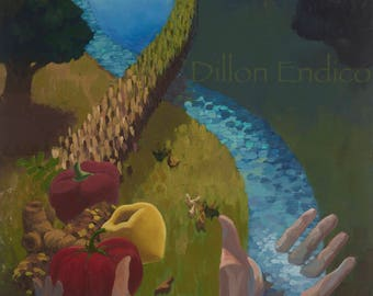 The Woven Connection. Art by Dillon Endico. canvas print. Farm to Canvas. Permaculture. Respecting the Land. Organic Gardener. Compost