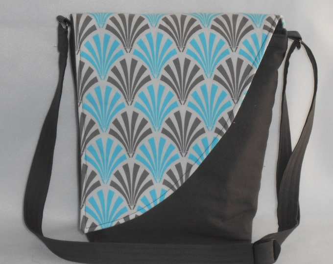 Featured listing image: Crossbody Bag - Taupe Base with Blue & Taupe Deco Fan Pattern Flap