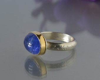 Tanzanite Ring in Gold and Silver- Large Tanzanite Cocktail Ring, Natural Tanzanite,  Deep Blue Stone, Gold Bezel, Statement Ring, Size 6.5