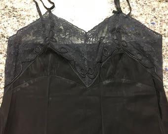 Vintage 1950's Black Satin Taffeta Full Slip w/Lace Bodice and Hem Detail Size 36 - vintage lingerie, black full slip, taffeta slip, satin