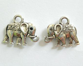 2 antique silver metal elephant charms