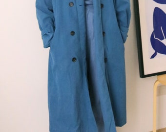 Fable Trench Coat- teal blue trench coat in sandwashed cotton
