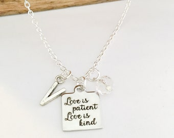 Personalized Love is Patient, Love is Kind Necklace