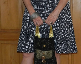 Hand Knit Black and Gold Hand Felt Evening Bag - Charming Checks