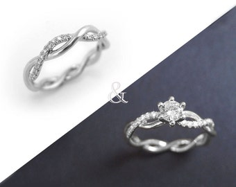 Diamond infinity ring bridal set Infinity knot engagement and