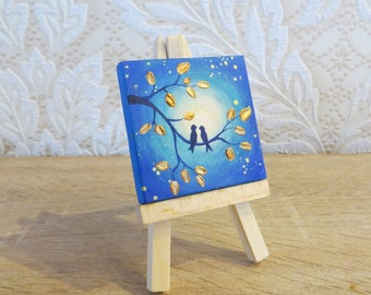Lovebirds paintings Miniature paintings Small canvas art Tiny art Table decor Tiny painting Love painting Small painting Mini art