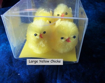 4 Large Yellow Chenille Spring or Easter Chicks approx. 2 in. x 1 1/2 in.