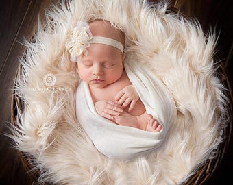 Ivory, Faux Fur, Newborn Photo Prop, Faux Fur Fabric, Flokati, Photography Backdrop, Photography Prop, Basket Filler, Basket Stuffer, Props