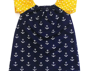 Dress scalable /tunique anchor boat /pois Navy and yellow for girl