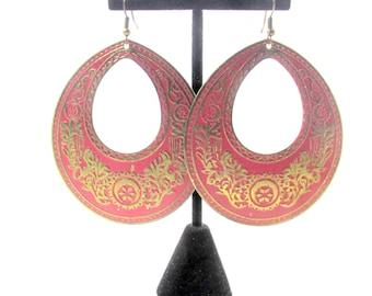 Vintage Antique Style Gold Tone Red Open Disk Earrings
