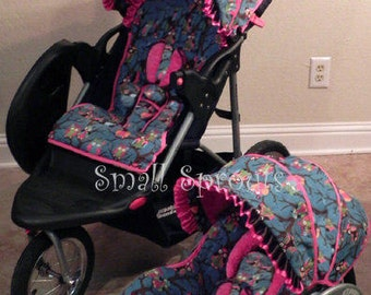 Cutie Pink Owl/Hot Pink Minky Dot Stroller Seat Cover and Canopy set