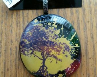 Purple Tree Fused Glass Pendant