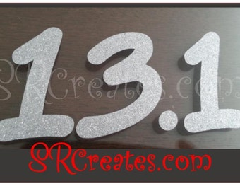 Runner Decal -13.1, Assorted Colors Available, Glitter and Gloss, Half Marathon Sticker
