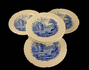 Luncheon Plates, Taylor Smith & Taylor, English Abbey, Fairway, Embossed, Hard to Find, Blue and Cream Colored, Fine China, Set of 6