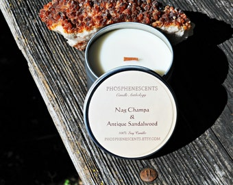 Nag Champa & Antique Sandalwood 6.5 oz. Incense Scented Soy Wax Wood Wick Candle Tin
