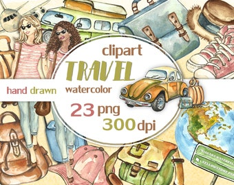 Travel clip art. Travel the world illustration. Trip Adventure clipart. Journey watercolor images. Vacation watercolor clipart. Suitcase.