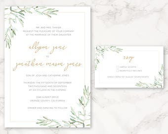 Printable Wedding Invitation - Botanicals - Olive Branch - DIY Printing - Watercolor Floral