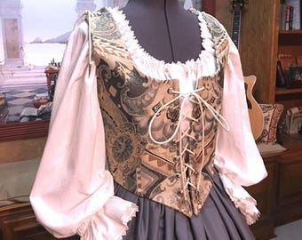 Renaissance Wench or Maiden Reversible Bodice and Skirt, Gray and Pale Aqua Tapestry Dress, Cusom sized for You!