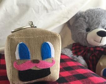 "Tiny Box Tim Keychain! Corduroy Plush Toy. 3"" cube. Markiplier Youtuber, Pink Warfestache Mustache."