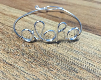Silver Aloha Bangle made in hawaii