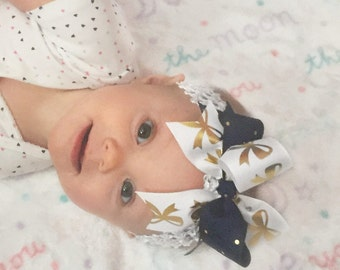 Bow Crown, White, Navy, & Gold (Hair Bow Attached by Band, Newborn-3 Yrs)
