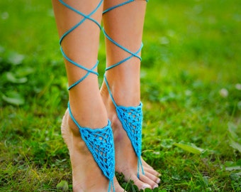 Aqua Barefoot sandal, Turquoise barefoot sandals, Foot jewelry, Crochet feet accessory, Foot thong, Anklet, Yoga, Beach wedding bridesmaid