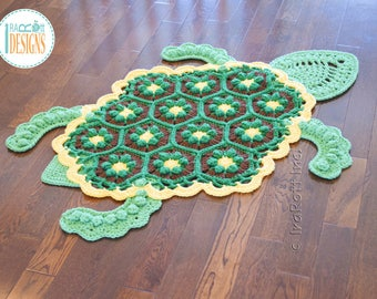 Bubbles the Turtle Animal Rug PDF CROCHET PATTERN with Instant Download