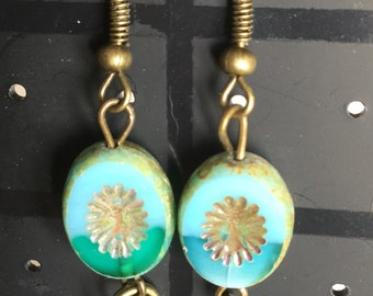 Beautiful blue Picasso czech table cut glass earrings
