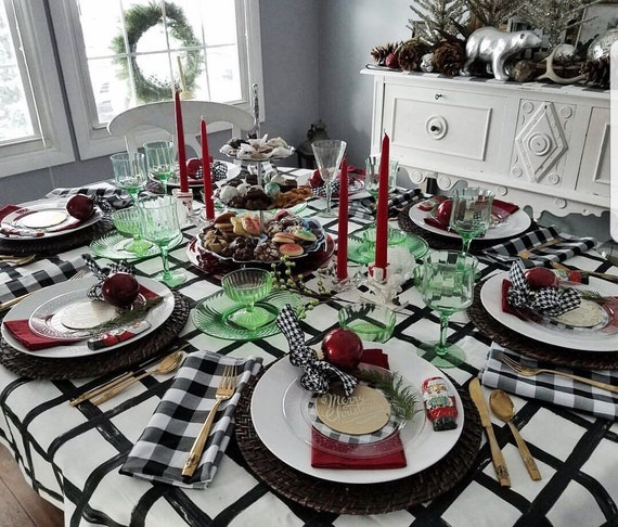 Windowpane Tablecloth | Black and White Tablecloth, Wedding Table Linens, Holiday Tablecloth, Windowpane Print Linen