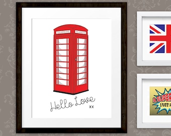 London Print, British Telephone Box art, Phone Booth Wall Art Printable,  Retro Phone Box, INSTANT DOWNLOAD