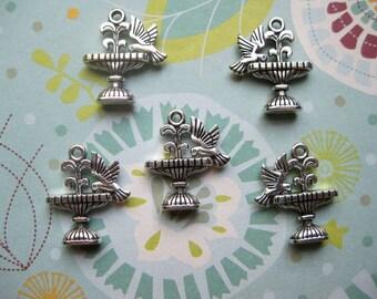 5 Bird Bath Charms in silver tone - C2206