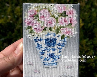 CUSTOM Blush Pink Roses and Hydrangea in Ming Vase Miniature Painting in OIL by Lara ACEO 3x4 Floral Still Life Mini