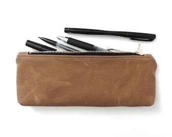 Waxed Canvas Pencil Case Zipper Pencil Pouch Tan