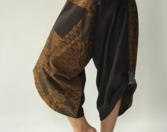 SR0176 Samurai Pants Harem Have Fisherman Style Wrap Around Waist