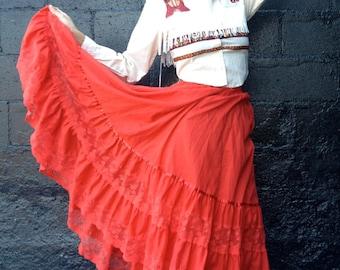 60s 70s Western Maxi Skirt / Square Dance Skirt / Rockabilly / Carefree Fashions Scottsdale Arizona / Small