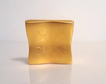 Vintage 1990s 24 Faubourg by Hermes 0.06 oz (1.8g) Solid Perfume Bijou Parfume Metal Compact