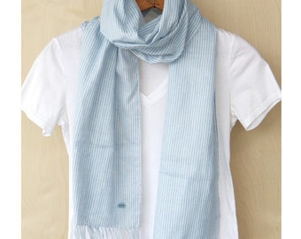 "Light blue cotton scarf : Japanese double gauze stole - baby blue, white pin stripe / white - 13"" wide all season"