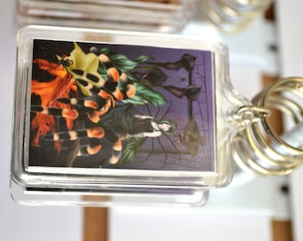 Spider Fairy Art Acrylic Key Chain - Fantasy Charm Keyring - The Weaver