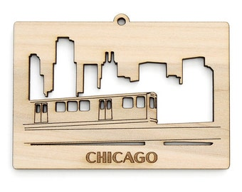 """Chicago """"L"""" Train and Skyline Ornament - from Timber Green Woods. Sustainable Harvest Wood. Made in the USA!"""