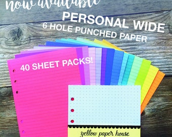 PERSONAL WIDE Size Planner Notepaper 40 Sheets Lines Dots Grid