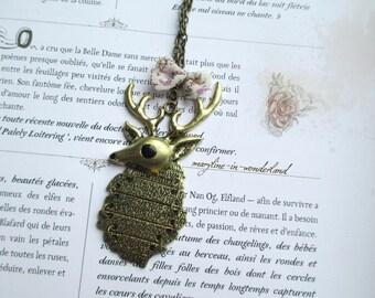 beautiful bronze deer antler necklace
