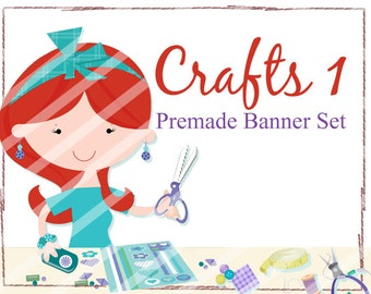 "Banner Set - Shop banner set - Premade Banner Set - Graphic Banners - Facebook Cover - Avatars - Bisiness Card - ""Crafts 1"""