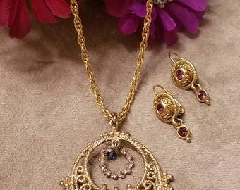 Rhinestone Circle Pendant Necklace and Earrings, Set, Adorned With Rhinestones, Gold Plated, Romantic Gift Set, textured Jewelry Set