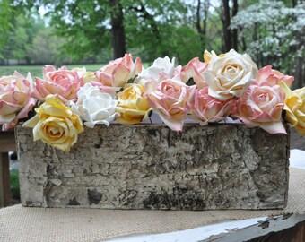 Rustic Birch Bark Covered Planter Box - Woodland Planter - Rustic Barn Wedding Centerpieces -