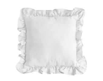 White  Linen Cushion / Decorative Pillow / Pillow with Frills / Pure Linen Pillow / Linen Home Decor / White Nursery Decor
