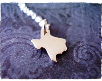 Silver Texas State Necklace - Sterling Silver Texas Charm on a Delicate Sterling Silver Cable Chain or Charm Only