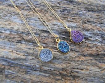 Gold Druzy Necklace - Dainty Druzy Necklace - Layering Druzy Necklace - Silver Druzy- Purple Druzy- Blue Druzy - Drusy Necklace  - Gift Idea