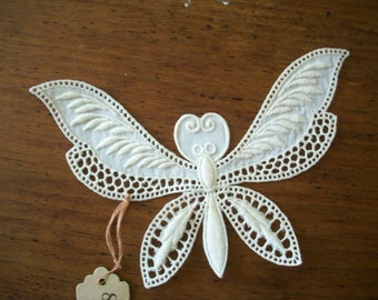 1900 antique lace embroidered butterfly applique