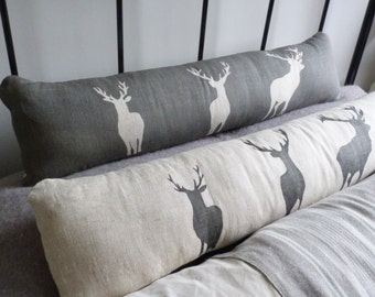 Hand printed  reversible linen charcoal natural stag bolster